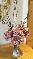 Artificial Silk Faux Lilac Hydrangea Flower Arrangement + Twigs In A Glass Vase