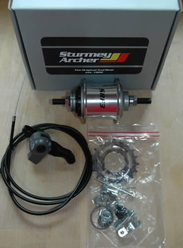 NEW Sturmey Archer S-RF3 Hub Alu shell HUB GEAR 3 speed - 163mm AXLE - 117OLN