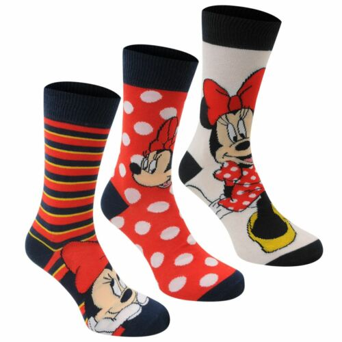 Disney Minnie Mouse Crew Socks 3 Pack Womens Black//Red Character Sock