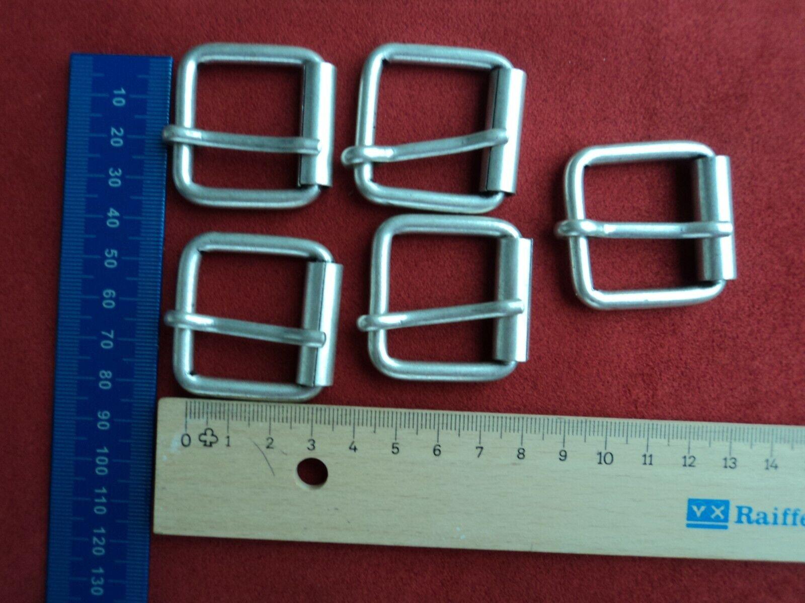 5x Gürtelschnalle Rollschnalle Gürtelschließe 30mm x 25mm Metall Silber Matt