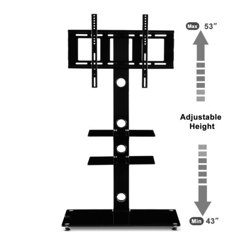 Adjustable Tempered Glass Entertainment Center TV Stand Video X-BOX//PS4 Holder