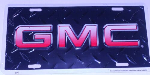 GMC  ALUM LICENSE PLATE BLACK DIAMOND PLATE RED /& WHITE LETTERS MADE USA TRUCK