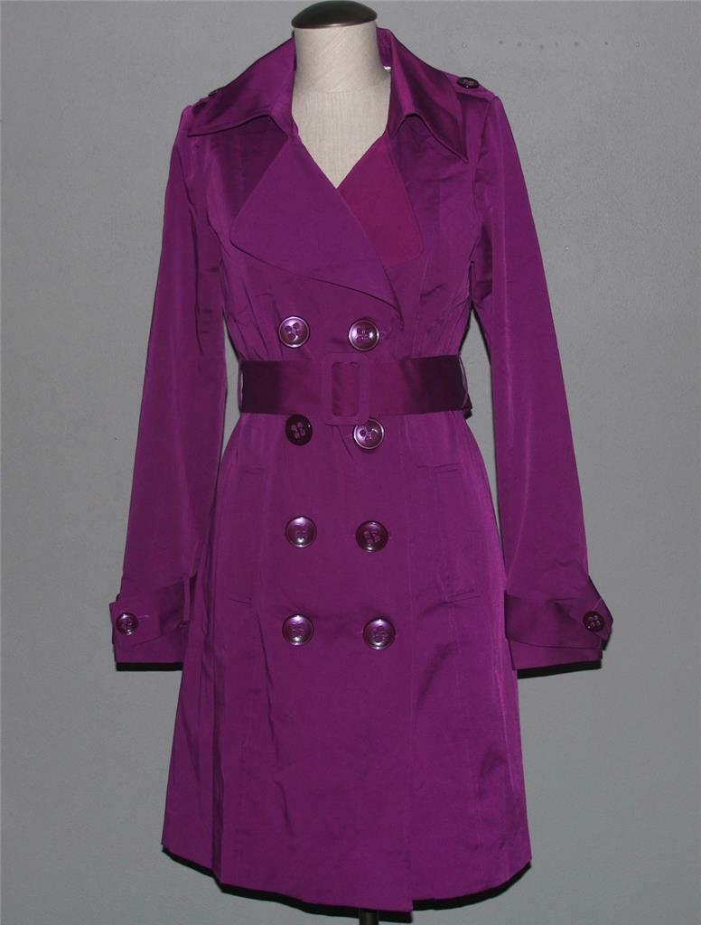 greenIGO Paris Magenta Purple Asian Suspense Dbl Breasted Trench Coat Ws NWT