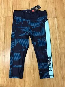 NWT Under Armour Womens HeatGear Printed Graphic Compression Capris