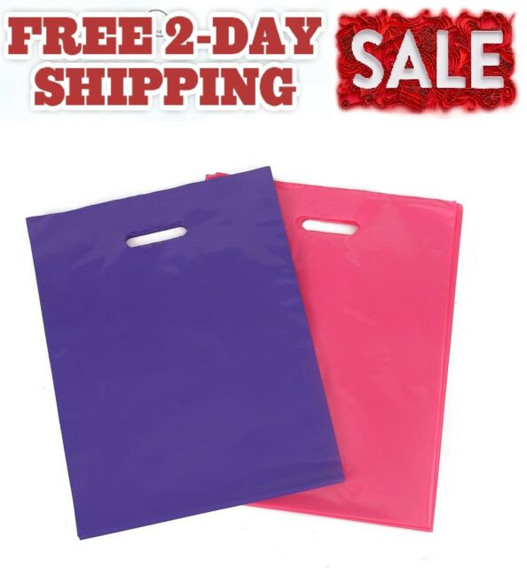 """100 12/""""x15/"""" Pink Glossy Low-Density Plastic Merchandise Bags Fast,Free Ship"""