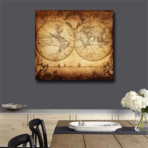 Vintage Poster Print Art Old the World Map of Global Nautical Sailing Ship Decor