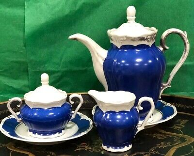 Bavarian Rw Dekor Feinsilber Cobalt Coffee Tea Pot Creamer Sugar Bowl Server Set Ebay