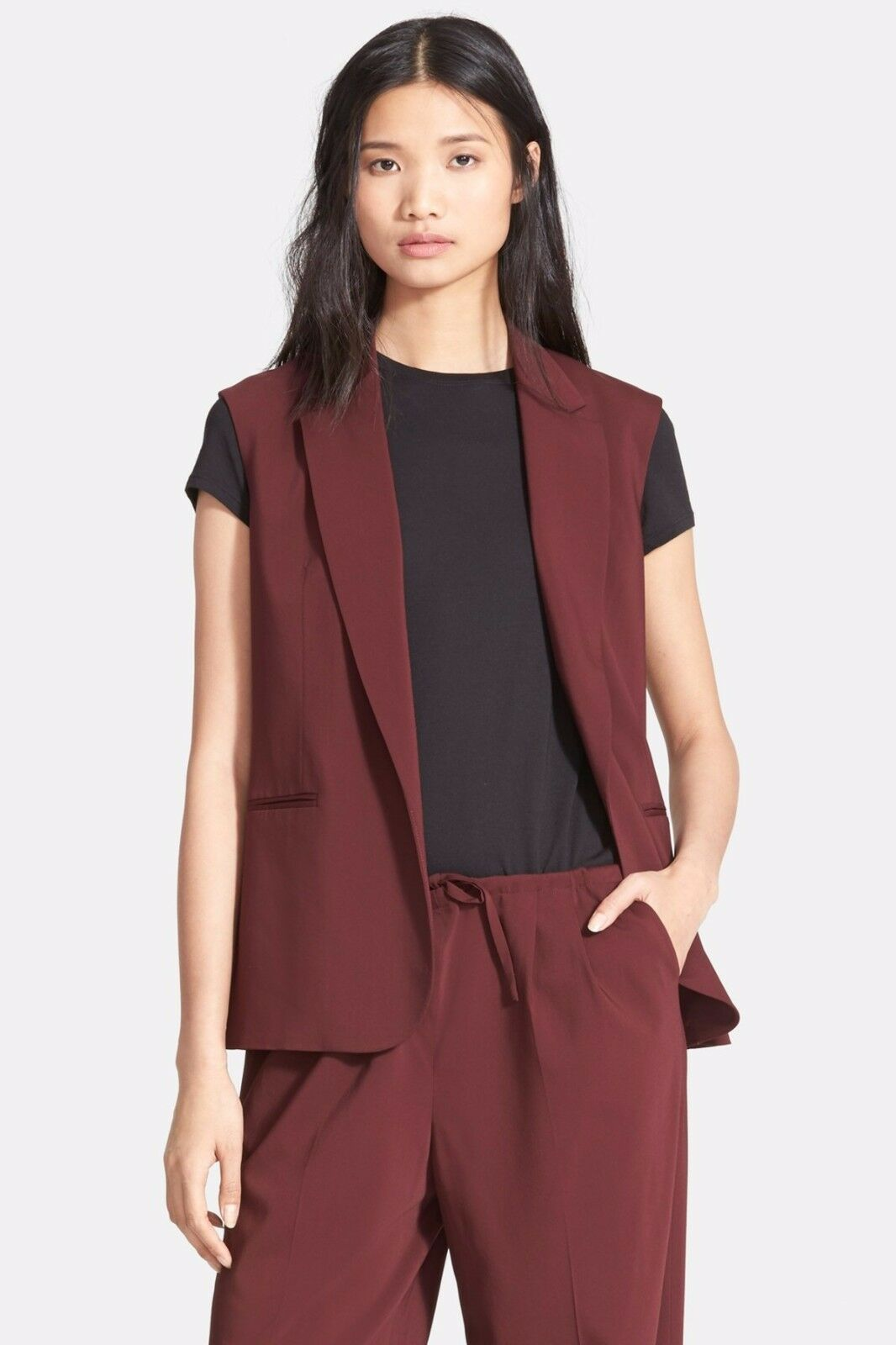 Theory Adar Sleeveless Blazer Sizes 6, 8 color Beetroot NWT Made In USA