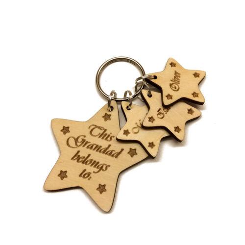 Personalised Keyring Daddy Grandad Mummy Mum Dad Grandma Gift Wooden Engraved