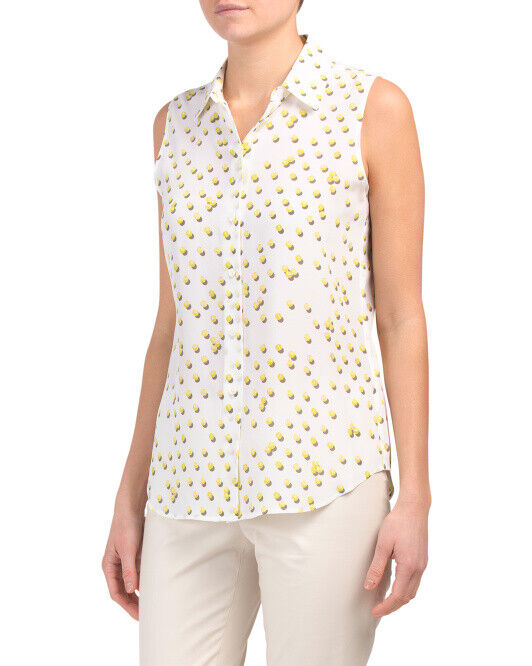 NWT EQUIPMENT Colleen Silk Weiß Gelb print Sleeveless Blouse Größe XS Sold out