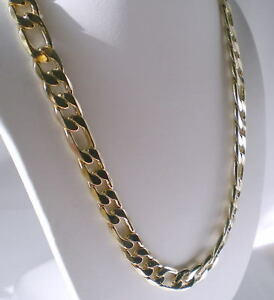 14K Gold Plated Gep Figaro Chain 10 MM wide Lifetime wa