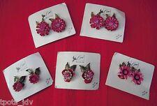 Vintage NOS - 5 Pairs CORO Clip-On Earrings, PINK Enamel Flowers w/ Rhinestones