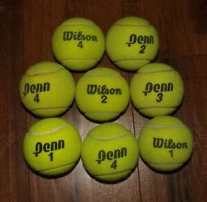 NICE TENNIS BALLS 8 LOT DOG TOYS SCHOOL CHAIR LEGS REMOVE SCUFFS FLUFF TOWELS