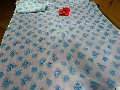 Schietto Paire Rideaux, Roses Bleues ,clarté 1m,42 H X0,81 Large Prets A Placer ,nylon