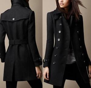 British-Women-039-s-Military-Outwear-Double-Breasted-Wool-Blend-Coat-Jacket-Peacoat