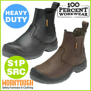 Heavy-Duty-Quality-Leather-Mens-Dealer-Slip-On-Safety-Work-Boots-Shoes-Steel-Toe