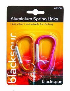 2x-Aluminium-Spring-Links-Clips-Hooks-Camping-Carabiner-Bike-8cm-Two-Colours