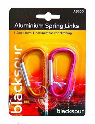 Collegamenti In Alluminio 2x A Molla Clip Ganci Camping Moschettone Bike 8cm Due Colori-