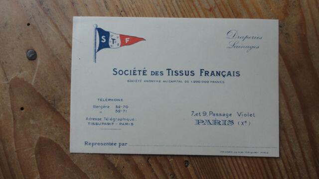 CARTE DE VISITE AVIS PASSAGE SOCIETE TISSUS FRANCAIS ANNEE 1930