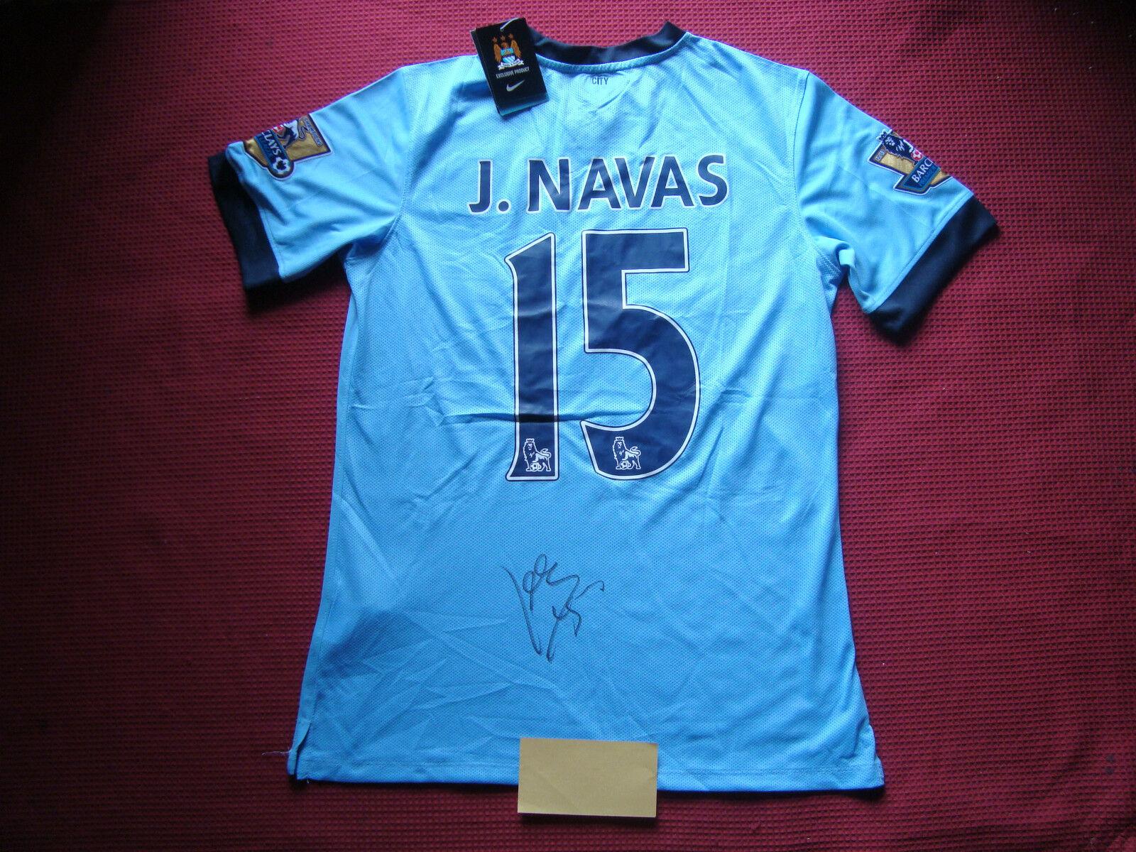 Manchester City Jesús Navas mano firmado 2014-15 Camiseta Jersey-BNWT-foto prueba