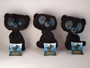 BRAND NEW EXCLUSIVE COMPLETE SET OF 3 ADORABLE MINI PLUSH BRAVE BEANIE BEAR TOYS
