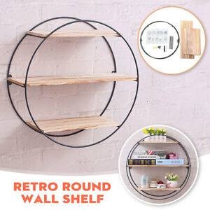 Vintage-Wall-Retro-Industrial-Round-Metal-Wood-Shelf-Rack-Storage-Shelving