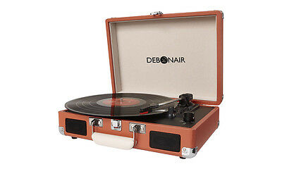Brown Retro Turntable Vinyl Case Briefcase Suitcase Style Record Player Attache