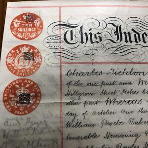 Antique 1907 Vellum Legal Document Milner Road Horfield Bristol Hand Written Old
