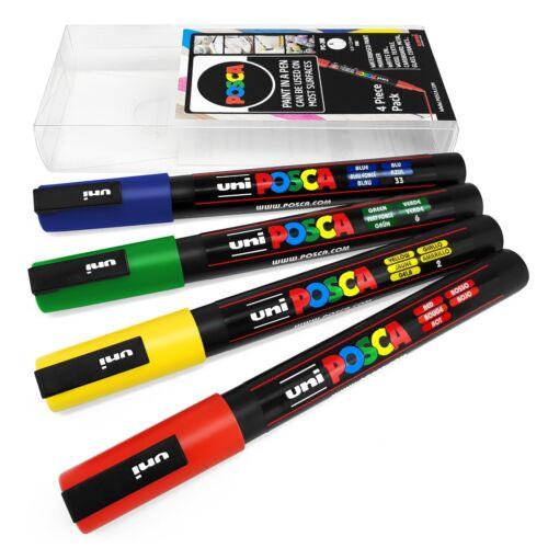 Uni Posca-PC-3M Arte Marcador Pintura Plumas-Paquete de 4 tonos principal de cartera