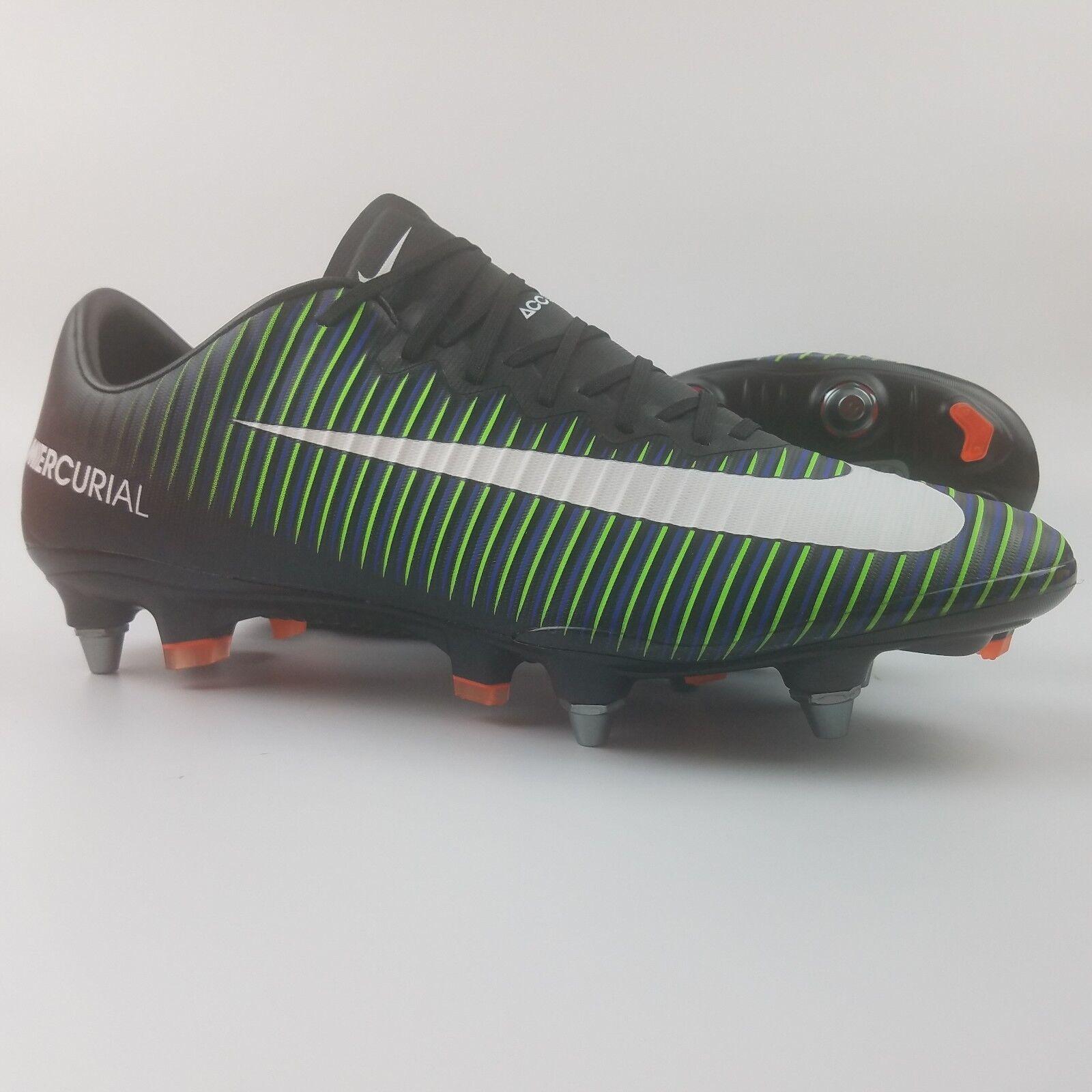 buy popular bd627 2d596 Nike Mercurial Vapor XI SG Pro Mens Soccer Cleats Black White Green  831941-014