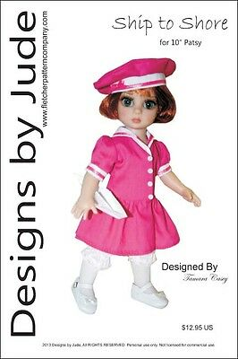 """Ship to Shore Doll Clothes Sewing Pattern 10/"""" Patsy /& Ann Estelle Dolls Tonner"""