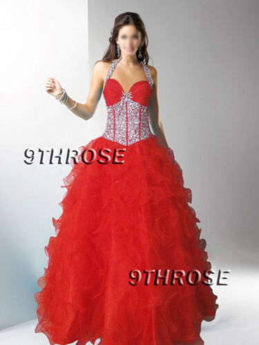 LOOK MARVELOUS! RED BEADED HALTER FORMALEVENINGBRIDESMAIDBALL GOWN; AU 8US 6