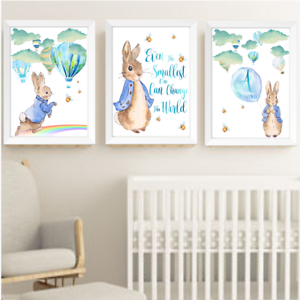 Details About Baby Boy Peter Rabbit Beatrix Potter Nursery Decor Art Print Set Bunny Room