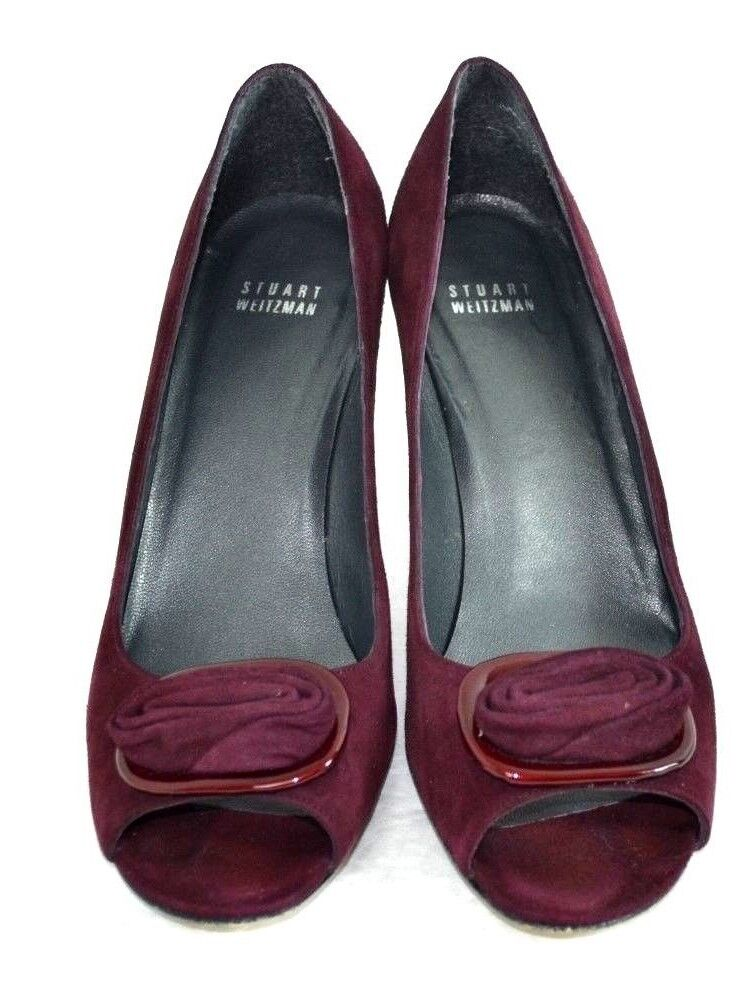 STUART WEITZMAN BURGUNDY SUEDE GENUINE LEATHER SHOES SIZE 10 M 3.5 HIGH HEELS