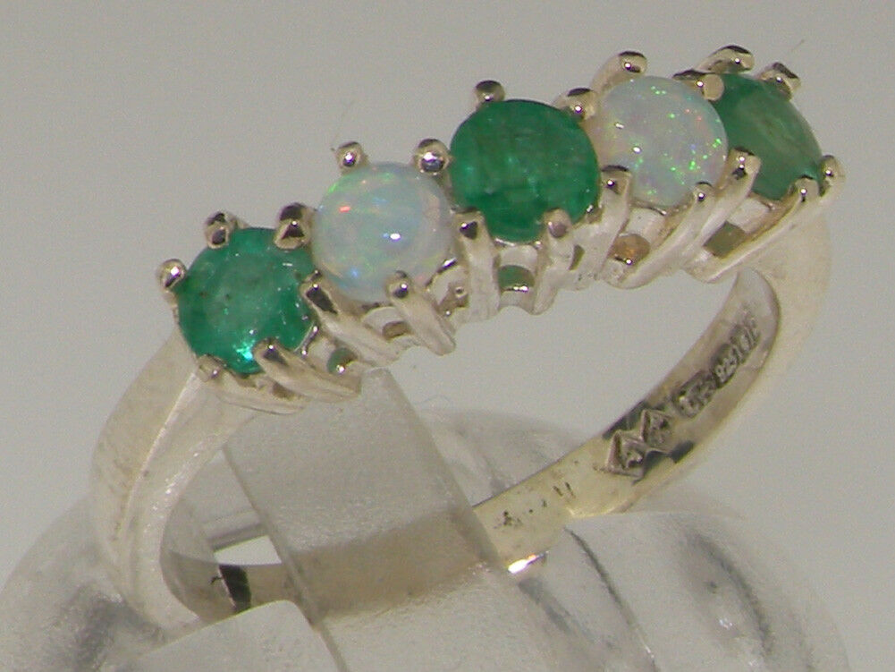 18ct 750 White gold Natural Emerald & Opal Womens Eternity Ring - Sizes J to Z