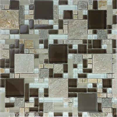 SAMPLE- Brown Gray Glass Natural Stone Pattern Mosaic Tile Kitchen Backsplash