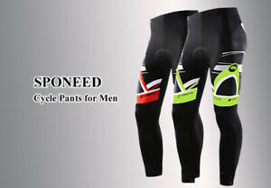Cycling Pants//Tights for Men with Chamois Gel Pad and Ankle Zip S-XXXL