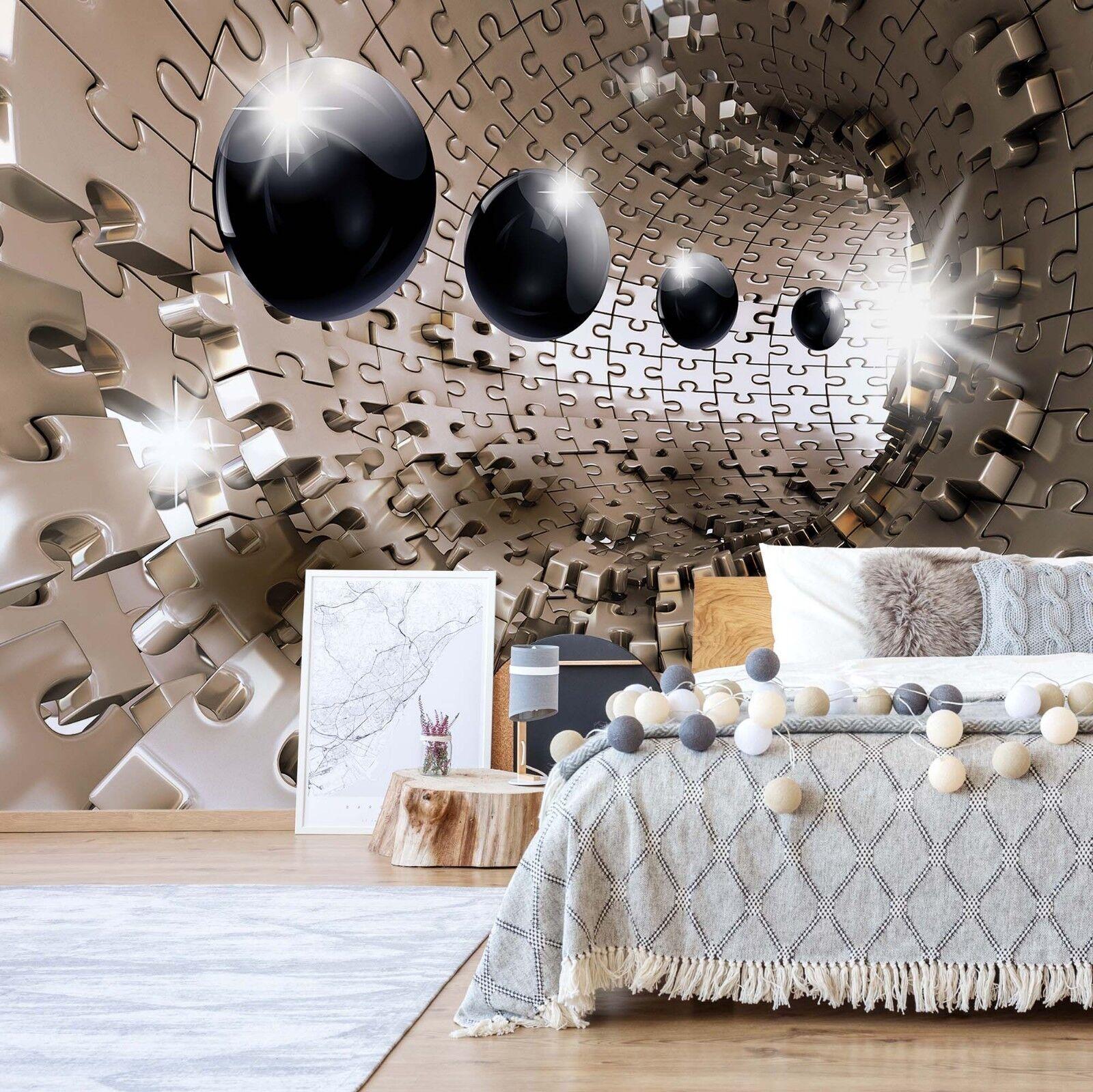 Wall Mural Photo Wallpaper Fleece 3D Beige Puzzle Tunnel and Spheres bedroom art