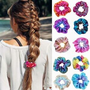 Shiny-Metallic-Hair-Scrunchies-Pferdeschwanz-Inhaber-elastische-Haargummis-Band