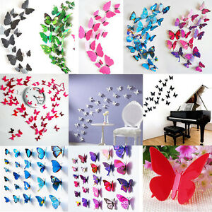 12pcs-3D-Butterfly-Sticker-Art-Decals-Wall-Stickers-Home-Room-Decor-Decorations