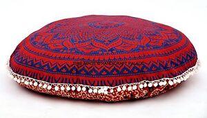 Indien-Ombre-Meditation-Sol-Rond-Coussin-Housse-Ottomane-Pouf-Mandala-Oreiller