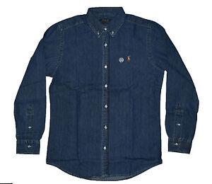 Mens-Polo-Ralph-Lauren-Slim-Fit-Camisas-Mangas-Largas-Denim-Lavado-Oscuro