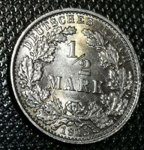 Germany-Empire-1-2-Mark-1915E-silver-BU-UNC