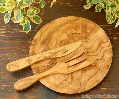 Handmade Olive Wood Round Dish / Serving Board + Free Butter knife +Free Fork