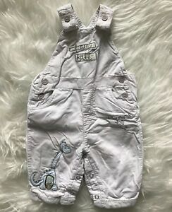 Next-Baby-Boys-Cream-Coloured-Cord-Dungarees-Dinosaur-Embroidery-Size-0-3-Months