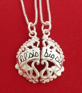 Sterling-Silver-SISTERS-LITTLE-BIG-Break-Necklaces-solid-925-Pendants-Chains-sis