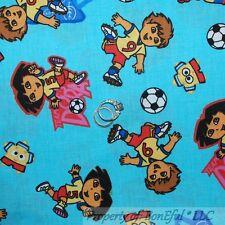 BonEful Fabric FQ Cotton Quilt Dora Diego Nick Jr Kid Soccer Ball Sport Cartoon