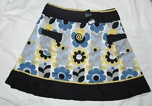 BNWT-NEXT-RRP25-Ladies-Black-floral-print-cotton-woven-summer-knee-A-line-skirt