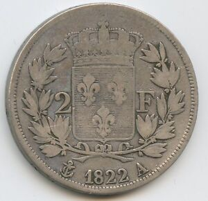 Louis XVIII (1814-1824) 2 Francs 1822 Paris