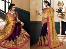 Bollywood Style Yellowe Color pallu Georgette satin Saree With Emrodri work